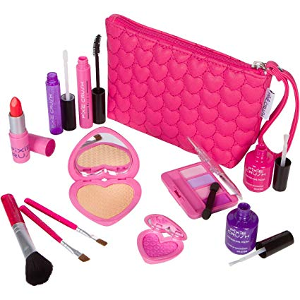 Amazon Com Pixiecrush Pretend Play Makeup Kit Designer Girls Love Set Heart Bag Toys Games Play Makeup Makeup Kit Makeup Kit For Kids