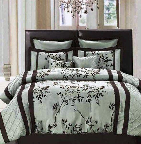 Royal Blue And Gray Comforter Set Queen Pc Elegant Aqua