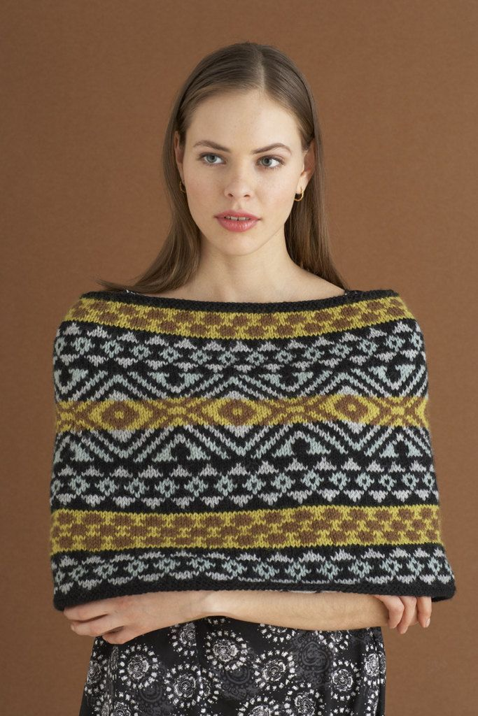 Fair Isle Capelet In Lion Brand Wool Ease 70556ad Discover More