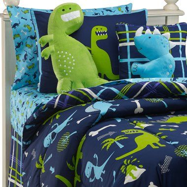 dinosaurs boys twin comforter set bonus pillow 7 piece room in a bag home. Black Bedroom Furniture Sets. Home Design Ideas