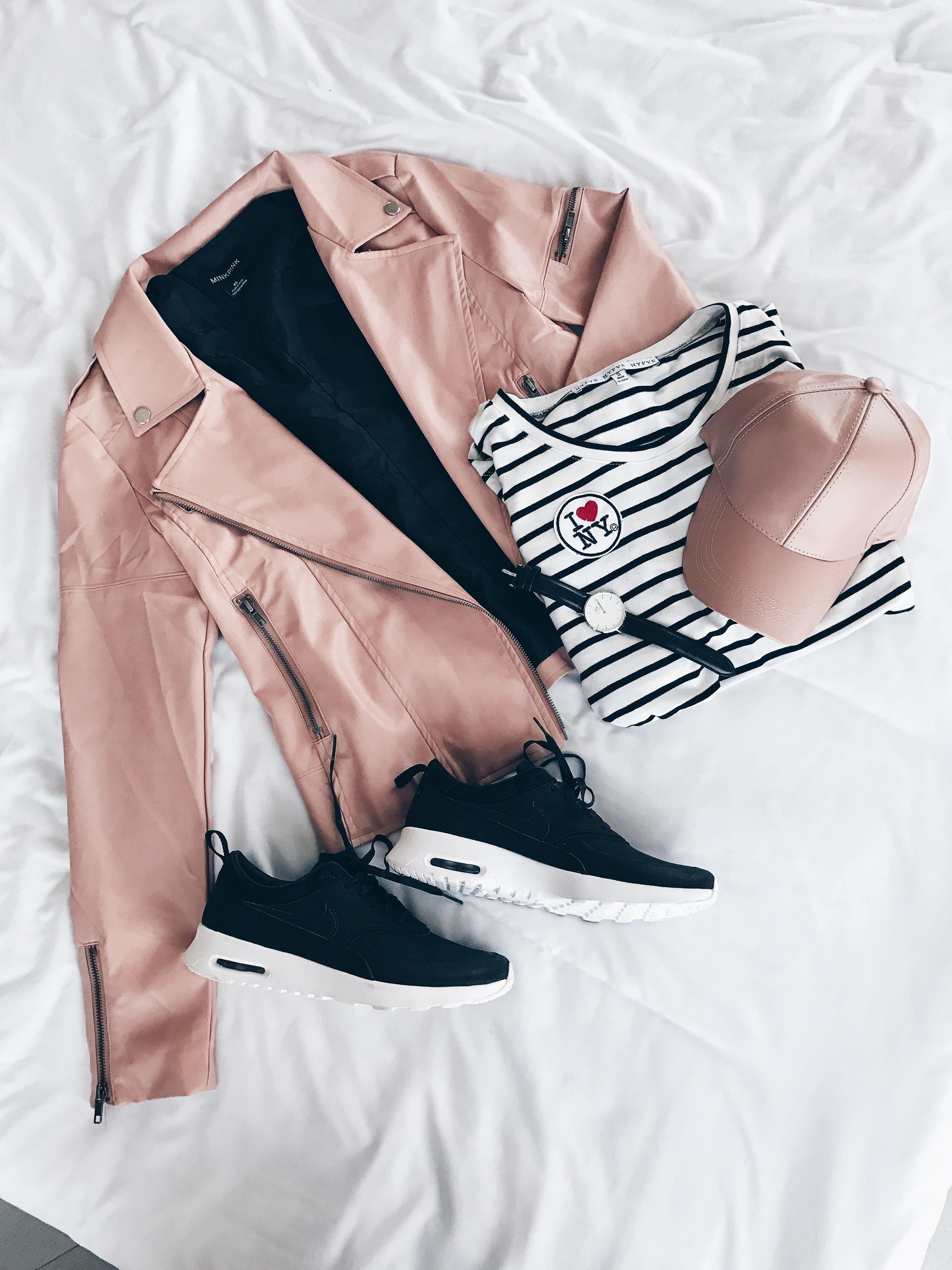 Blush pink coat, blush, Nike, flat lay, blush baseball cap, ootd