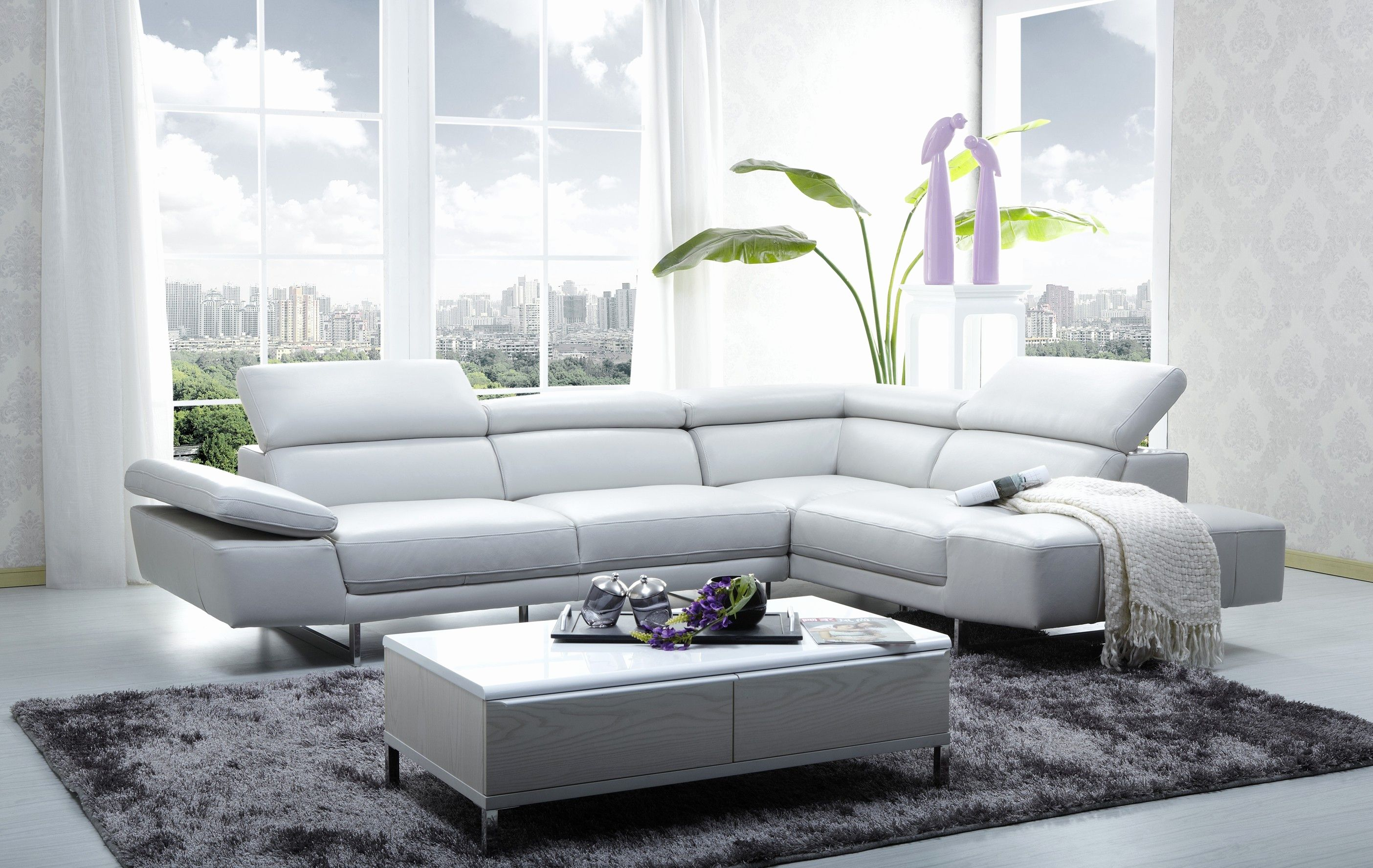 New White Leather Sectional sofas Pics 1717 italian leather modern ...