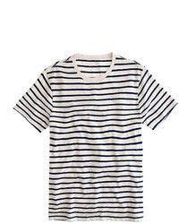 Camiseta con Cuello Circular de Rayas Horizontales en Blanco y Negro de J.Crew