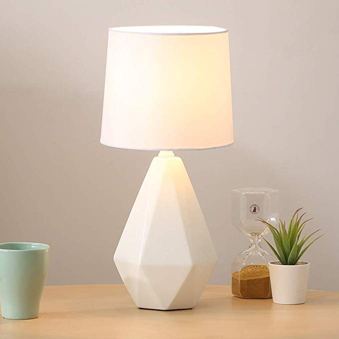 Sottae Modern Ceramic Small White Irregular Geometric Livingroom Bedroom Bedside Table Lamp Desk Lamp In 2020 White Bedside Lamps Bedside Table Lamps Mini Table Lamps