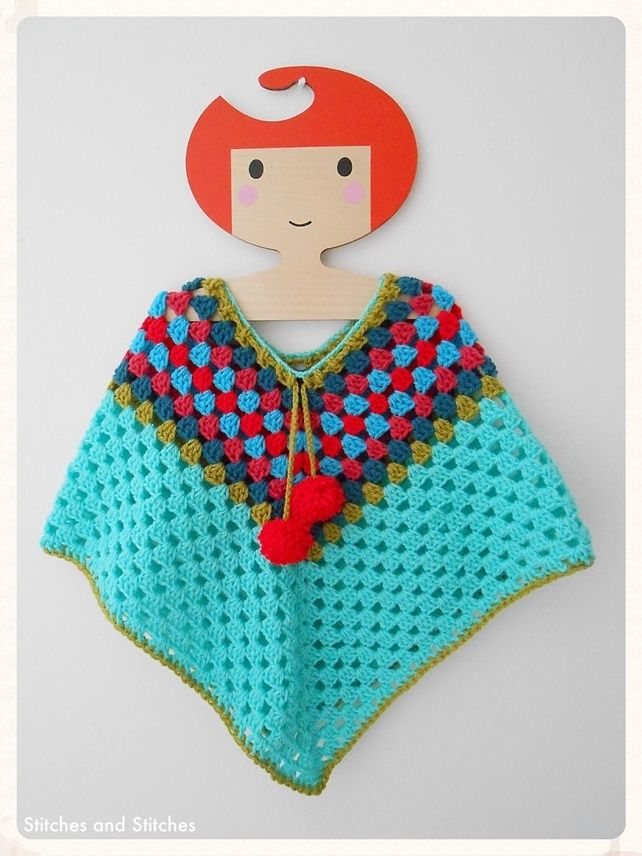 Crochet Poncho For A Little Girl. Baby, Toddler Age, Plus.. Vintage ...
