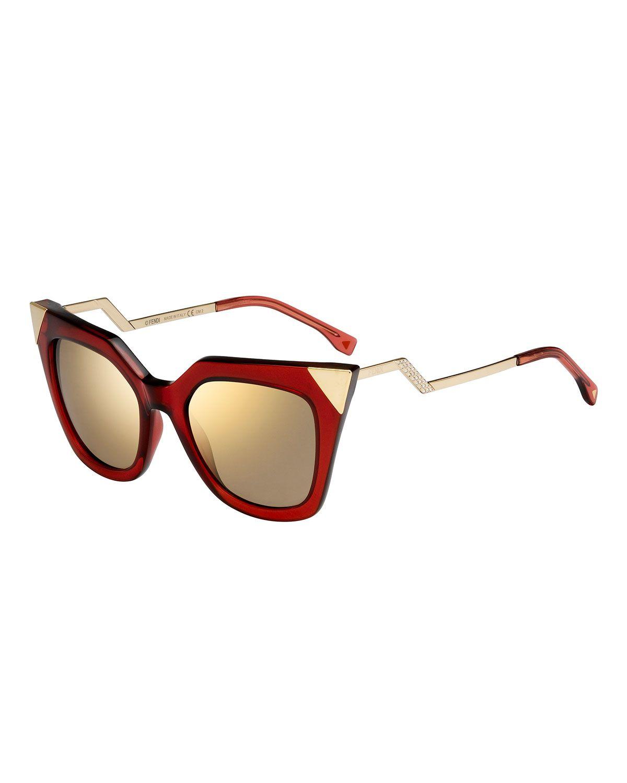 a465bd79a4c1 Fendi Iridia Mirror-Tip Cat-Eye Sunglasses