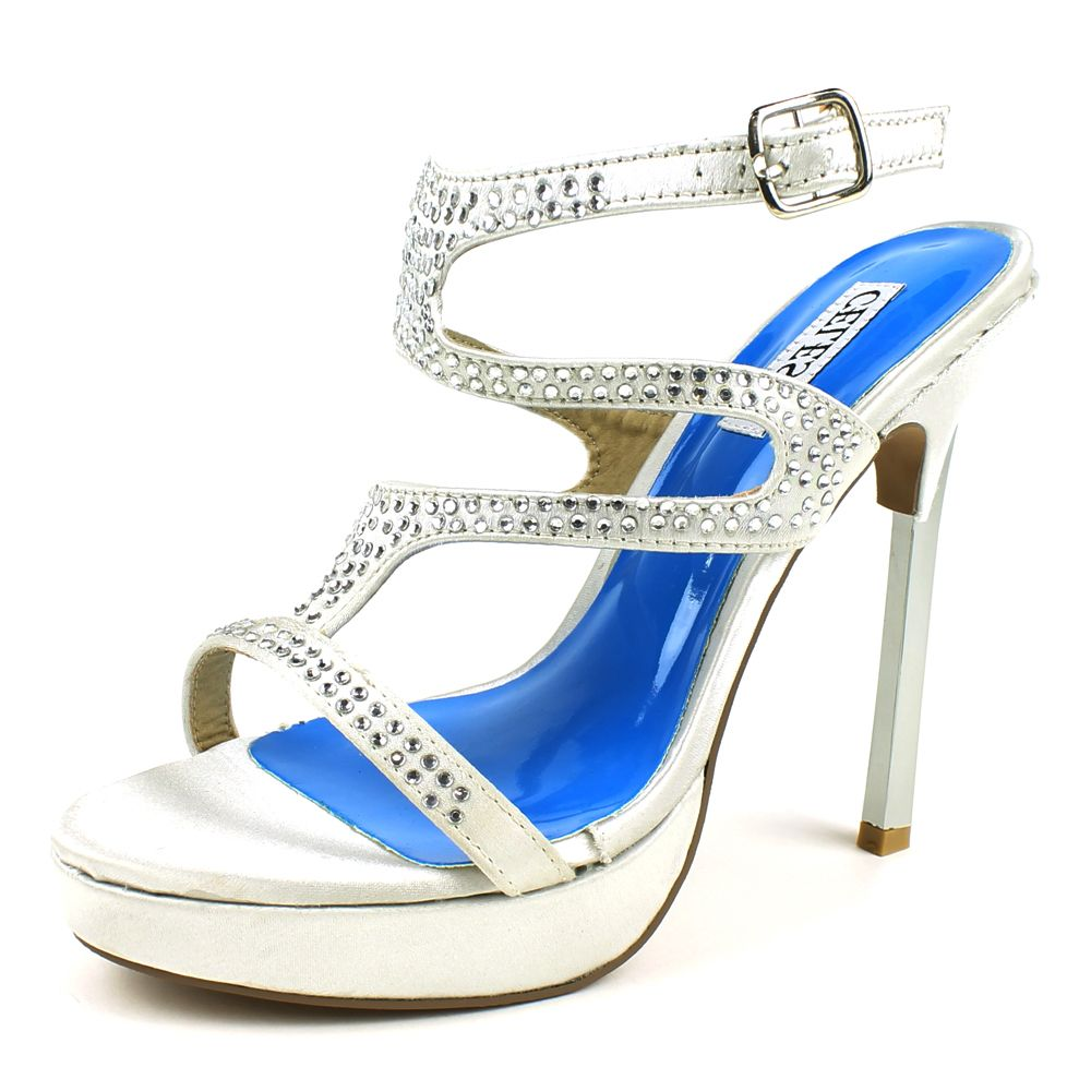 You will look dazzling in these beautiful dress sandals by Celeste. With satin uppers and attractive jewel details, these chrome heels are perfect for getting noticed.