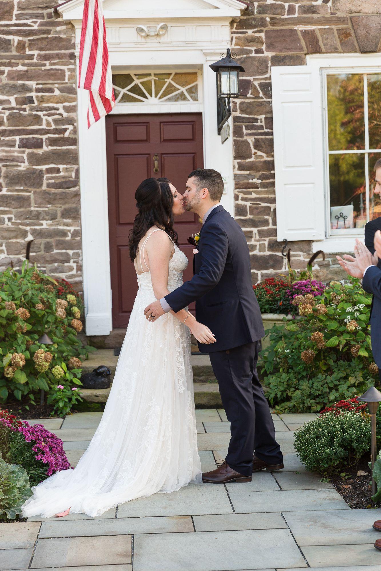 Fall Wedding Ceremony At Woolverton Inn In 2020 Fall Wedding Ceremony Wedding Bride Groom