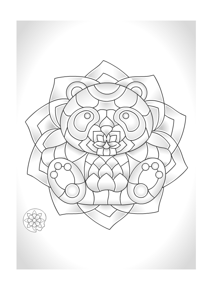 Free coloring page from ColorMind app Panda Mandala Free