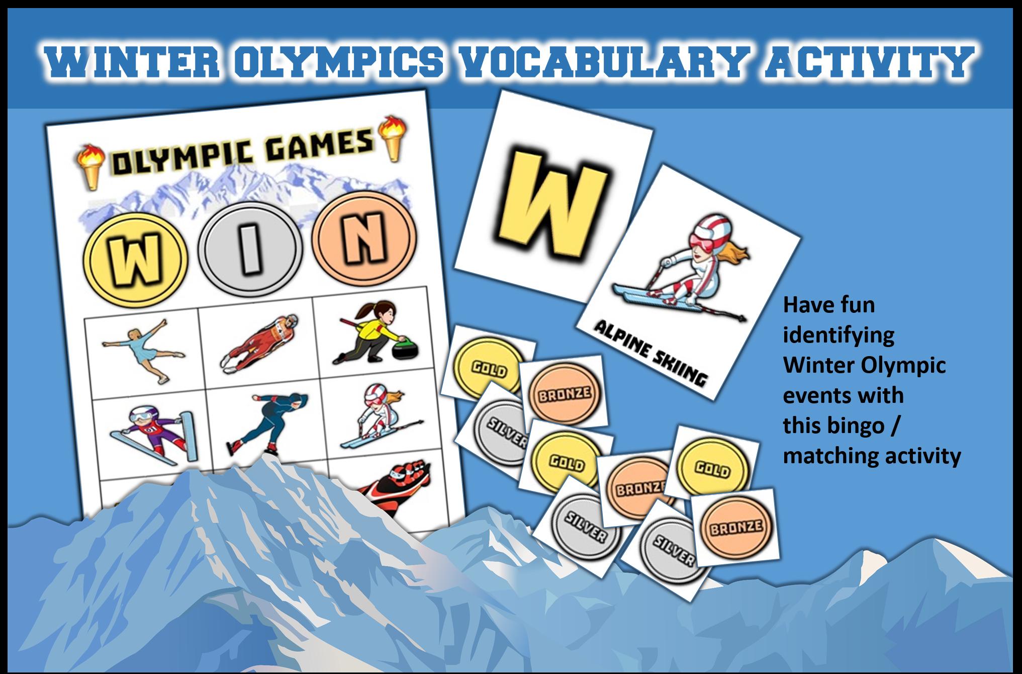 Winter Olympic Bingo Matching Activities