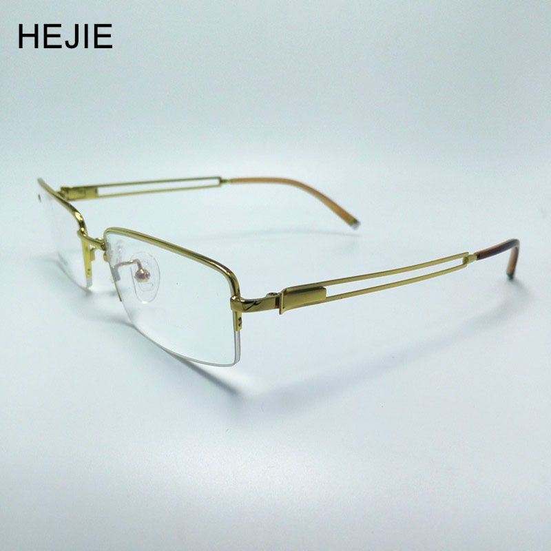 55276fefea Men Pure Titanium Eyeglasses Frames Brand Half Rim Myopia Optical Glasses  Frames For Male Size 54-18-140mm Y1022
