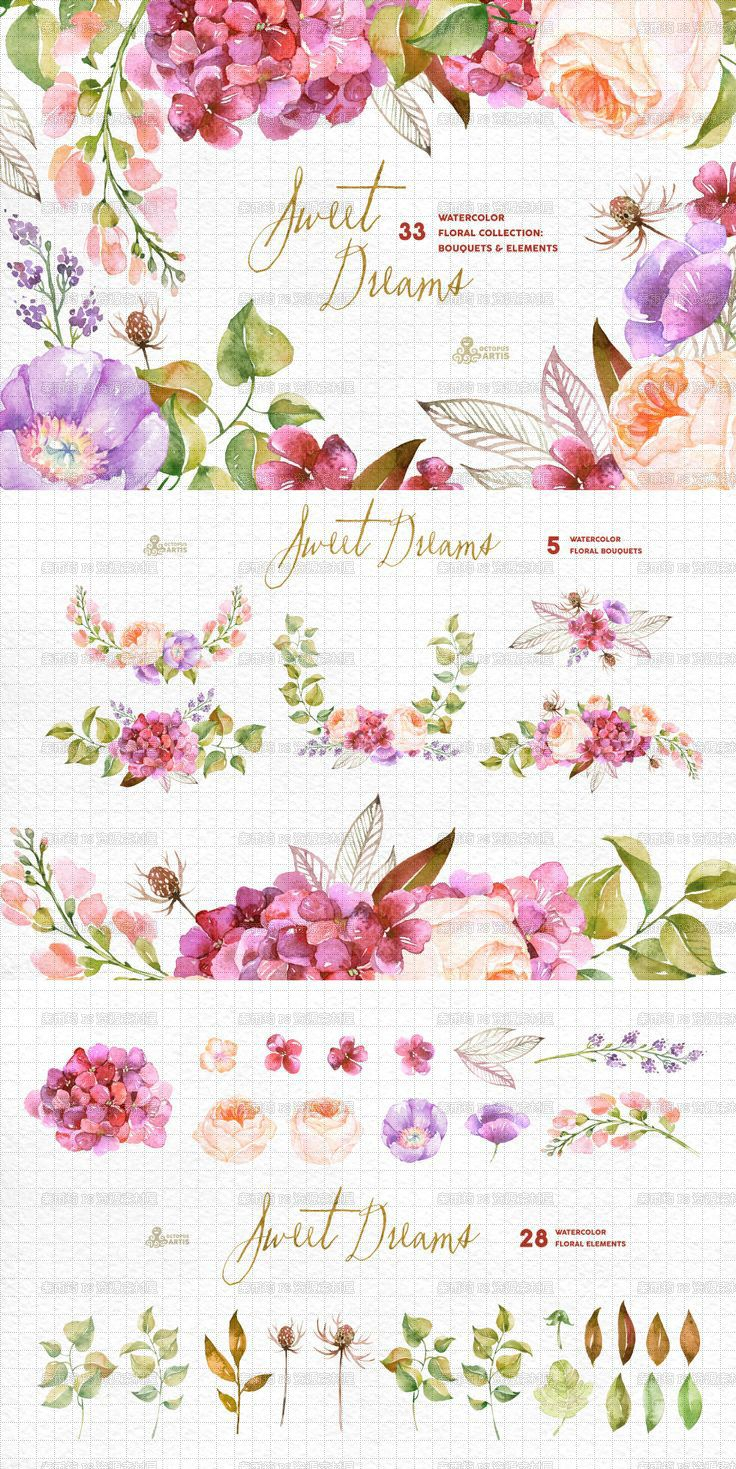 Hd png watercolor painted floral flowers foliage garland invitation