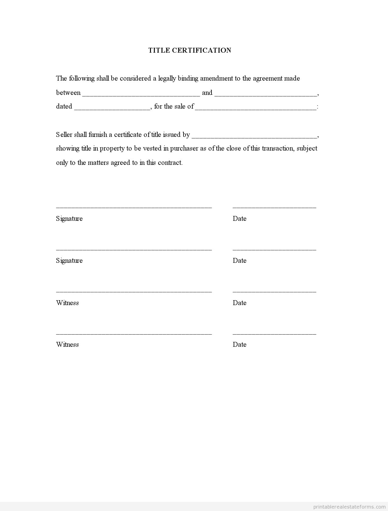 Sample Printable Title Certification Form  Printable Real Estate