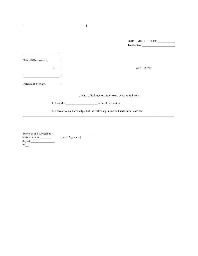 Blank Affidavit Template Form Word Template Templates Words