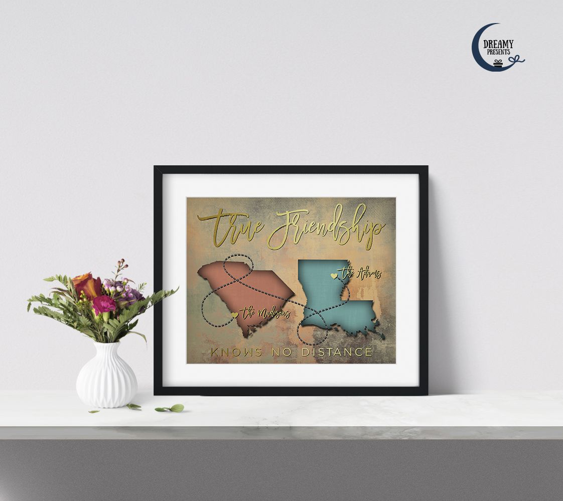 Custom map gifts for best friends with true friendship