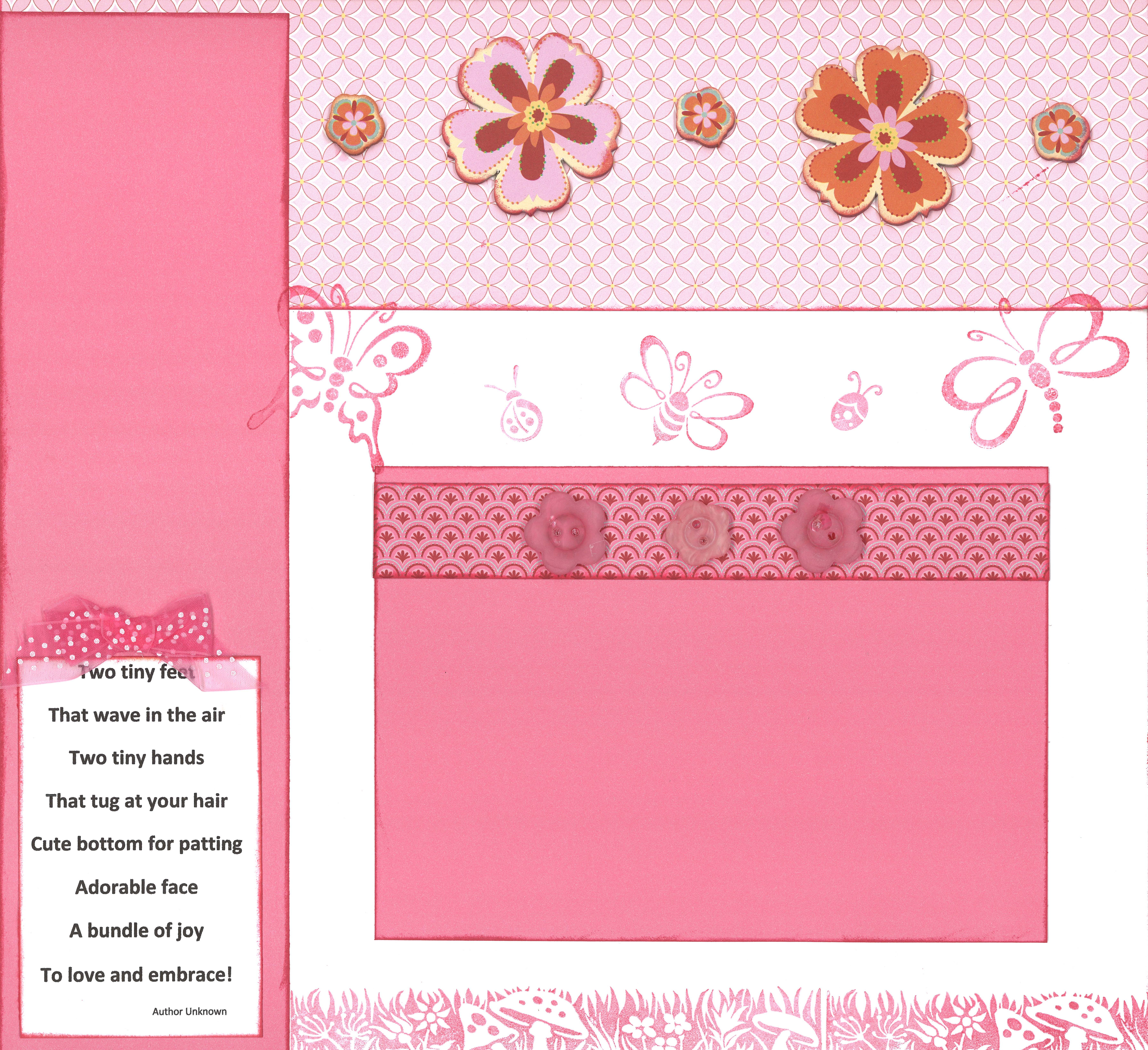 Baby scrapbook page ideas - Scrapbook Page For A Baby Girl Page 2 Paper Stamps And Embellishments Are From