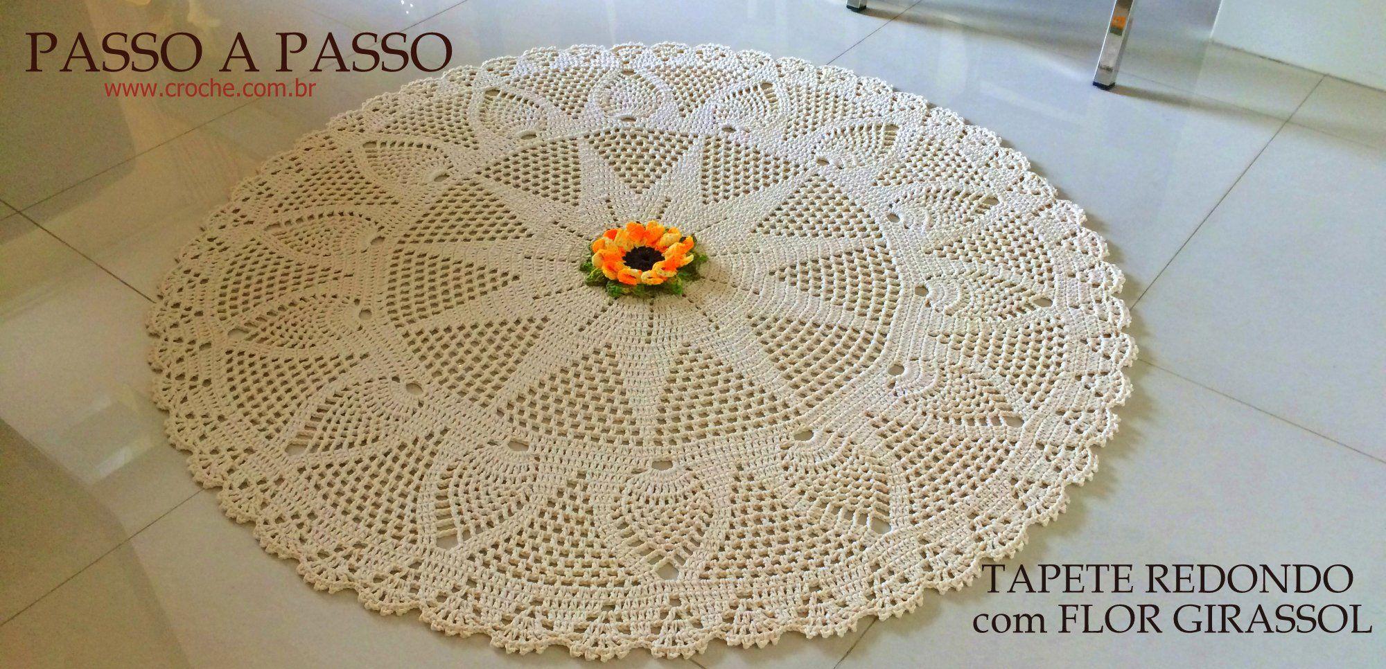 Tapete Redondo Com Flor Girassol Passo A Passo Sillas Pinterest  -> Tapete De Croche Redondo Passo A Passo