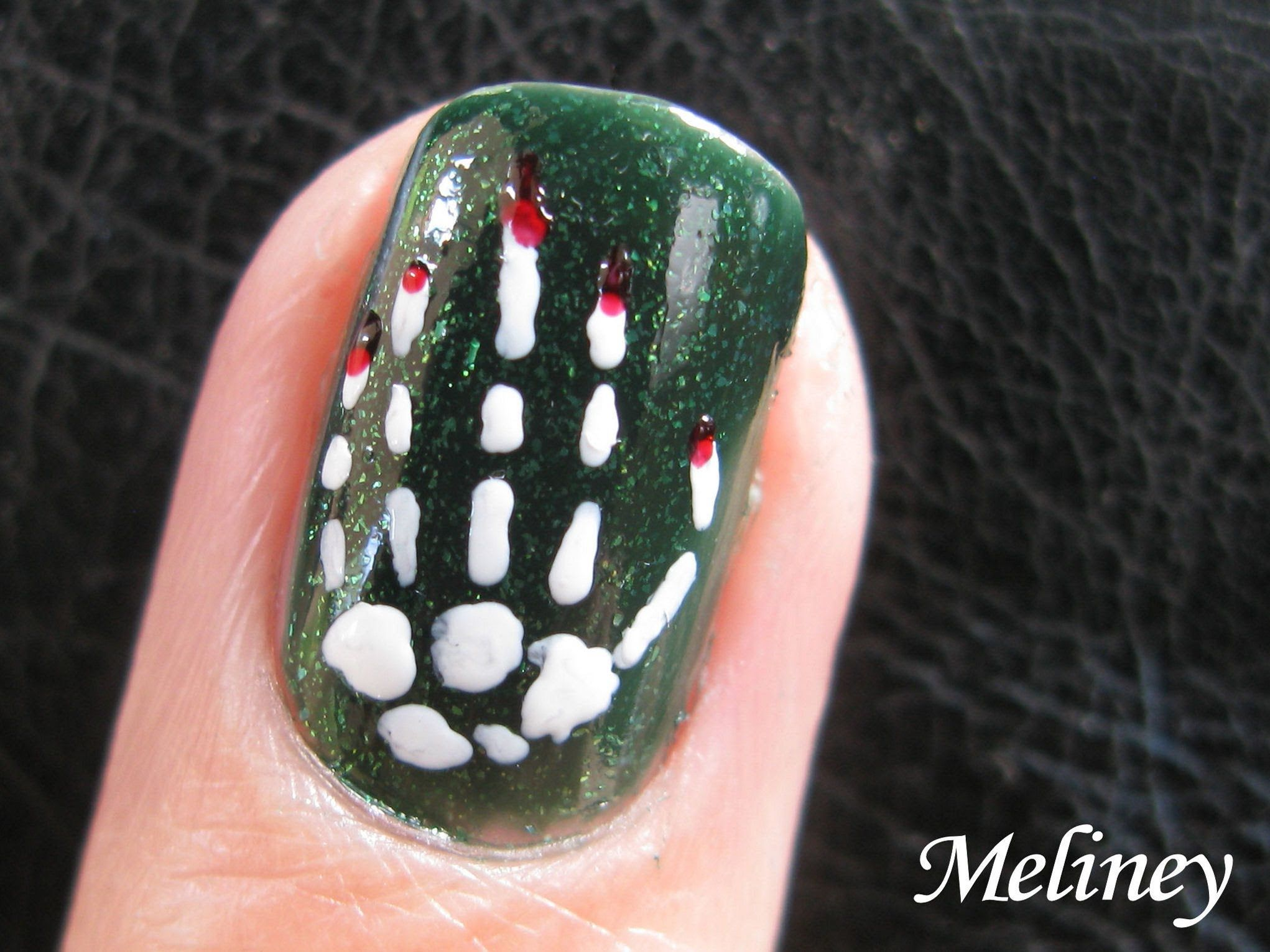 Nail Art Design Skeleton Bones Bloody Hand Spooky Nail Art