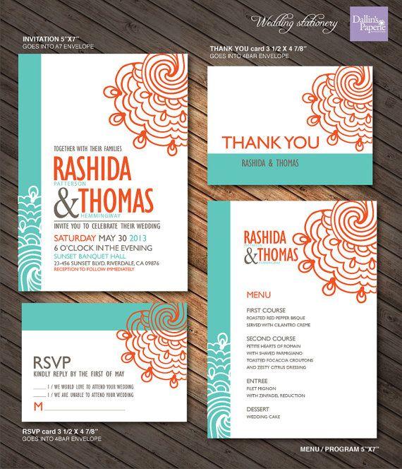 Turquoise And Orange Lace Wedding