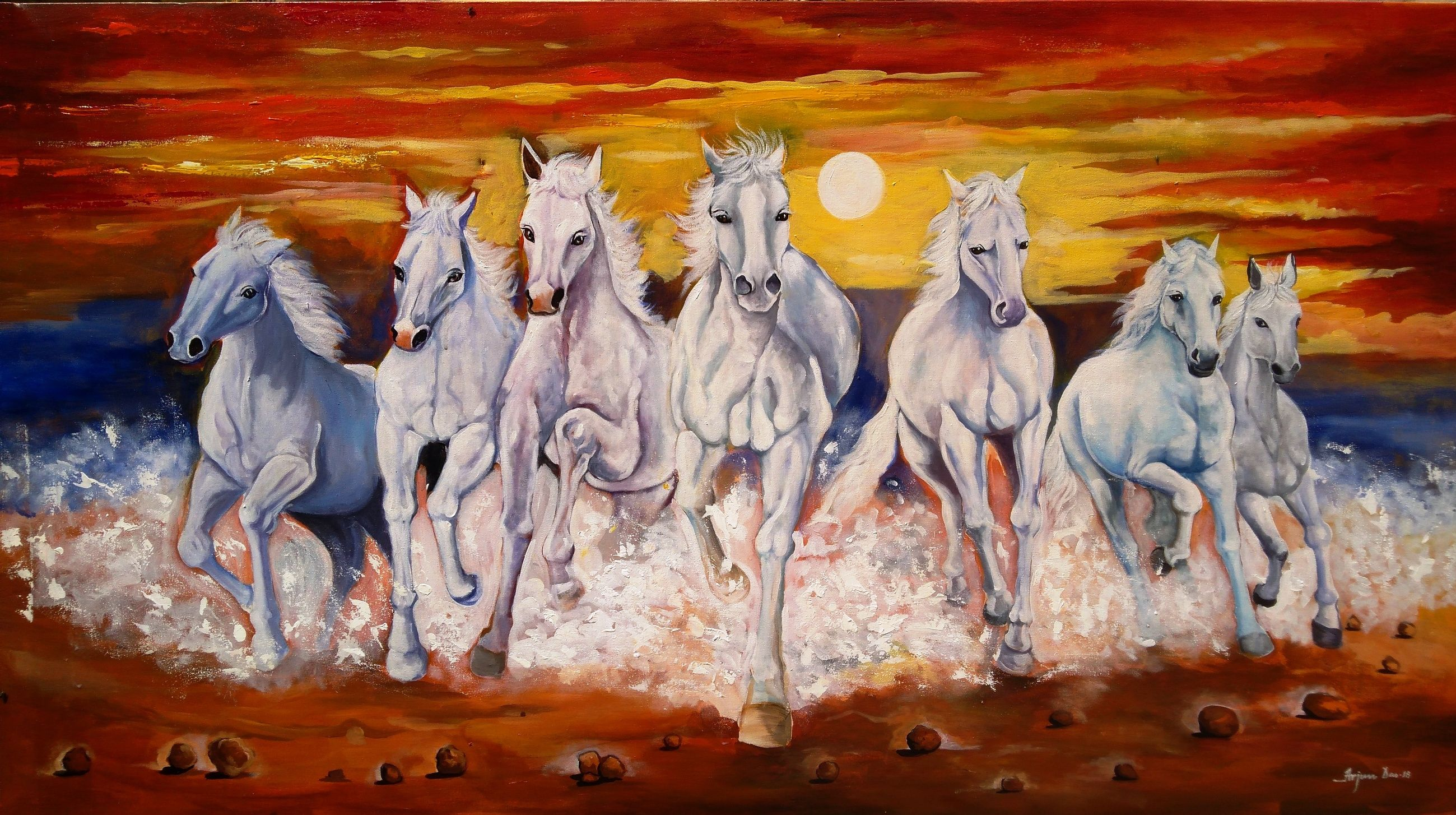 It Is A Beautiful Painting Of Seven Running White Horses The Artist Has Brilliantly Used The Acry White Horse Painting Horse Canvas Painting Horse Artwork