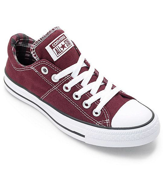 44379a2b5d95 Get ready for fall with the Chuck Taylor All Star Madison deep burgundy low  profile shoes from Converse. These shoes feature a padded ankle and tongue  with ...