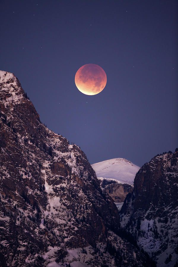 Lunar Eclipse Over Grand Tetons National Park, Wyoming
