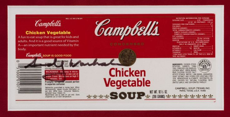 Campbell Soup Labels Andy Warhol Signed Campbell\u0027s Soup Label