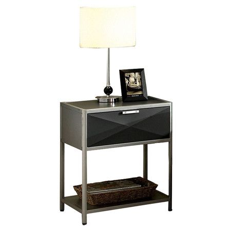 Best Matrix 1 Drawer Nightstand In Dark Gray Furniture 400 x 300
