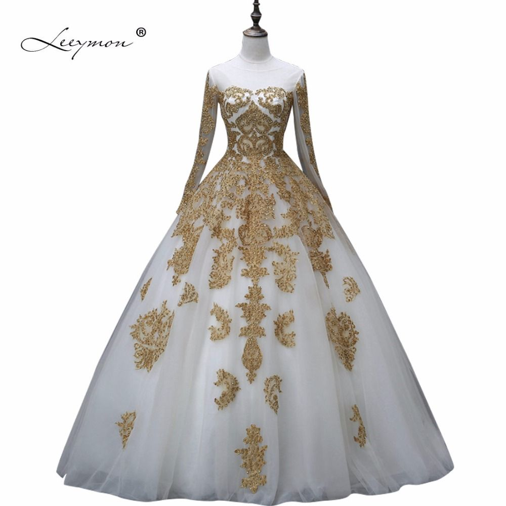 White Wedding Dress With Gold Lace And Glitter Wedding Dress Long Sleeve Quinceanera Dresses Beaded Wedding Gowns