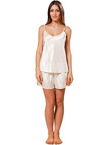 5d08b5e08e ElleSilk Women s V-Neck Silk Pajama Sets