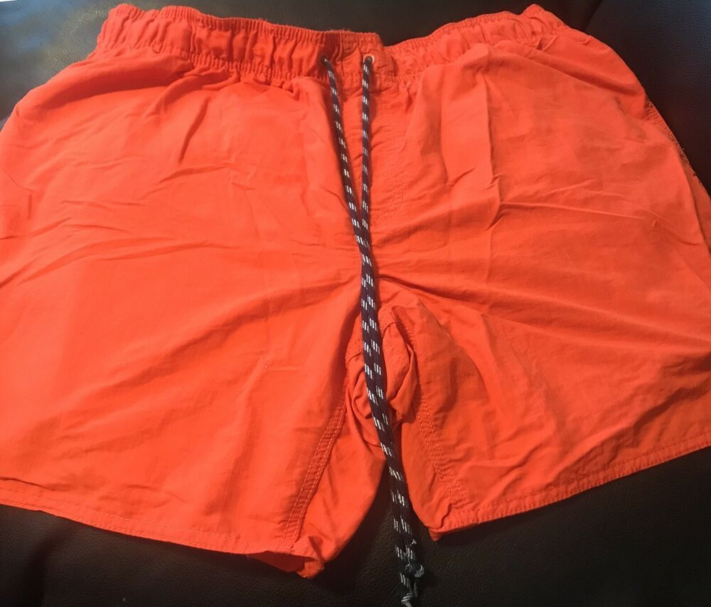 bb946de434 St johns bay XL Mens Swim Shorts Solid Orange With Blue And White Striped  String #