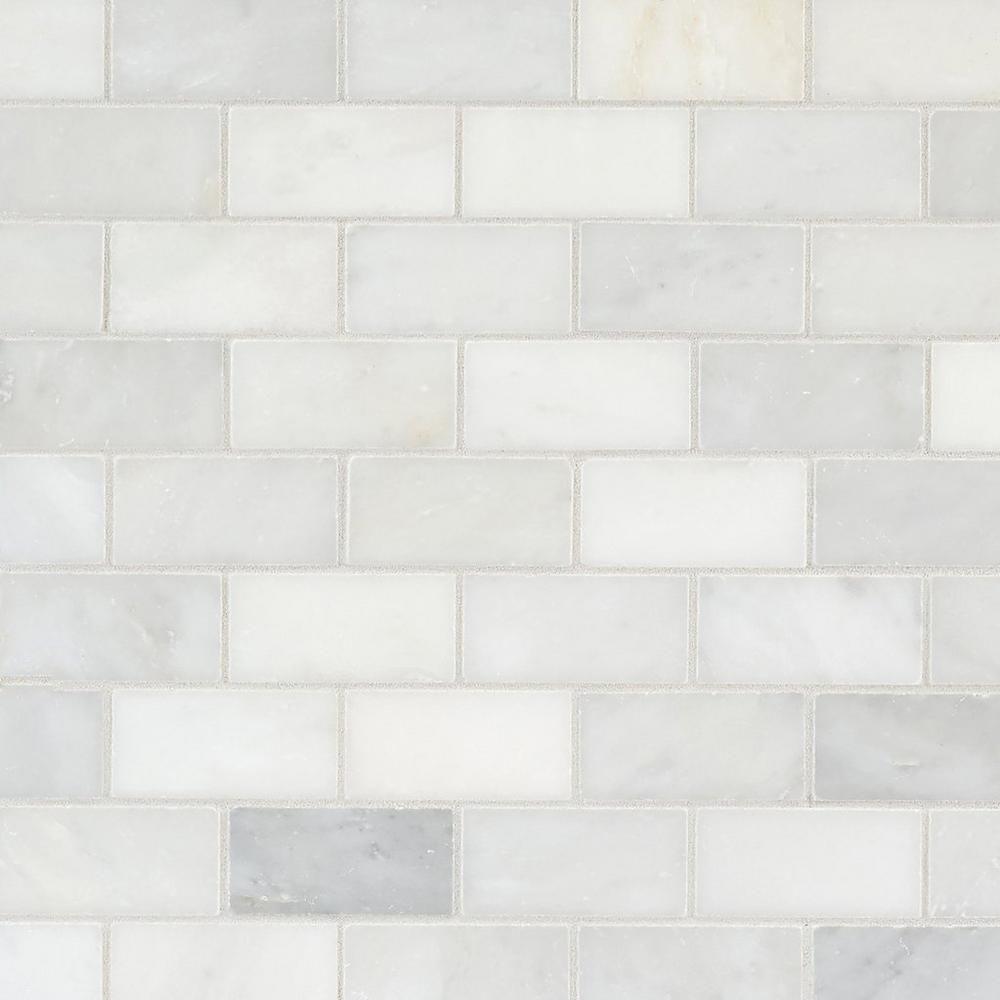 Carrara White Brick Marble Mosaic Marble Mosaic Brick Tiles Decorative Tile Backsplash