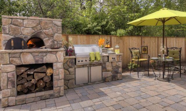 Outdoorküche Aus Stein : Pizzaofen mauern stein naturoptik terrasse holz outdoor küche