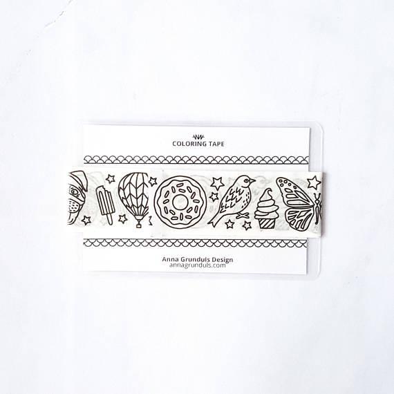 unicorn planner washi tape sample - unicorn party favors - adult