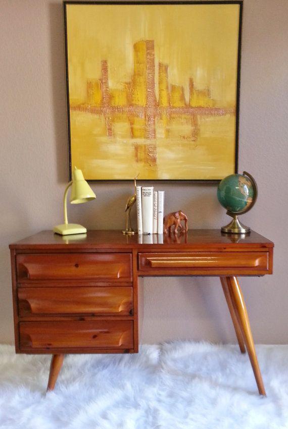 vintage 1950s franklin shockey mid century modern desk on etsy - Mid Century Modern Furniture Of The 1950s