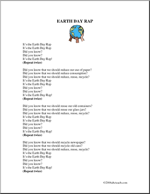 Song Earth Day Rap Children Can Learn This Rap Song As It S Written Or Can Substitute Their Own Words About Items That Can Be Redu Rap Songs Rap Earth Day