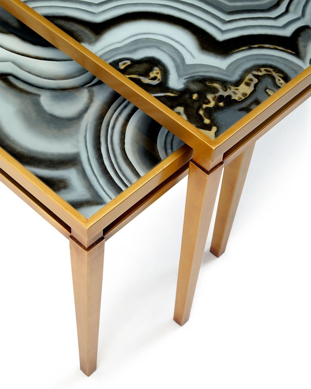 John Richard Collection Nicola Painted Agate Coffee Table Coffee