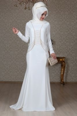 2a437d7a2bcb0 Sema Şimşek Beyaz Zincirli Tesettür Abiye Elbise | Muslimah Fashion ...