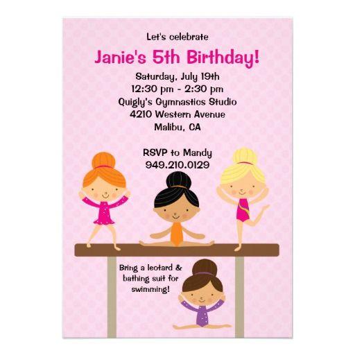 Gymnastics Birthday Party Invitation Gymnastics Birthday Party - best of invitation wording for gymnastics party