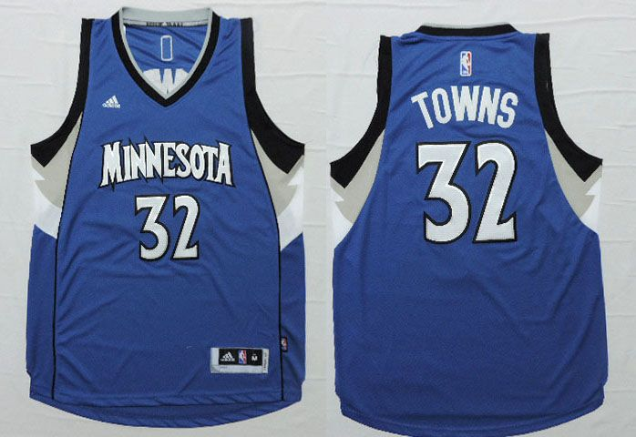 Minnesota Timberwolves #32 Town Blue Men 2017 New Logo NBA Adidas ...