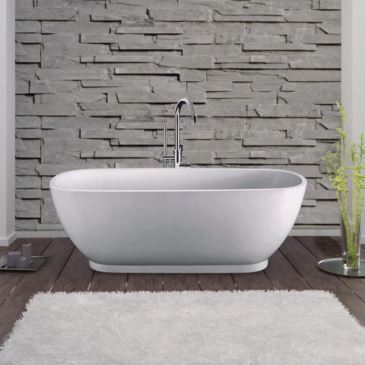 Randolph Morris 66 Inch Acrylic Double Ended Freestanding Tub - No ...