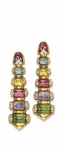 A PAIR OF MULTI-GEM AND DIAMOND 'CELTICA' EARRINGS, BY BULGARI
