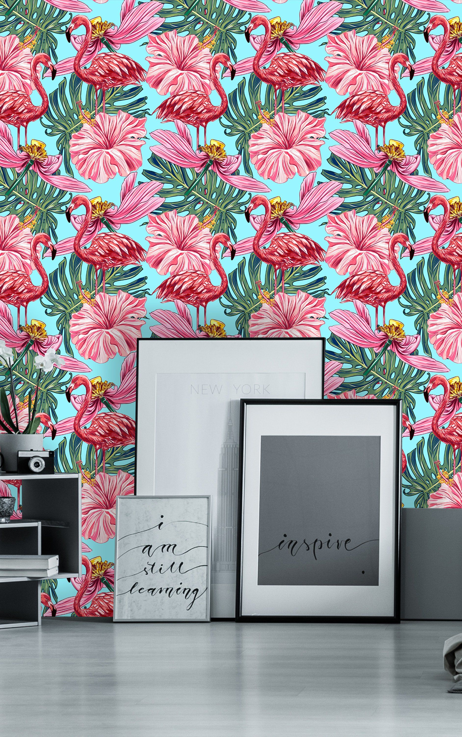 Removable Wallpaper Self Adhesive Wallpaper Pink Flamingos Tropical Flowers And Jungle Leaves P Peel And Stick Wallpaper Wallpaper Roll Self Adhesive Wallpaper