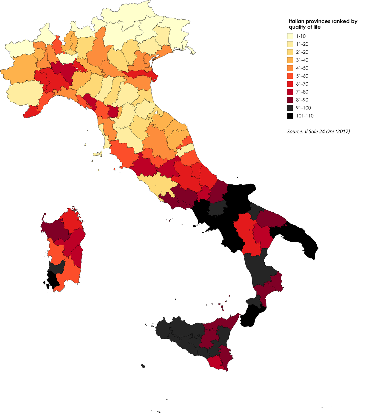 Italian Provinces Ranked By Quality Of Life Maps Map Italy