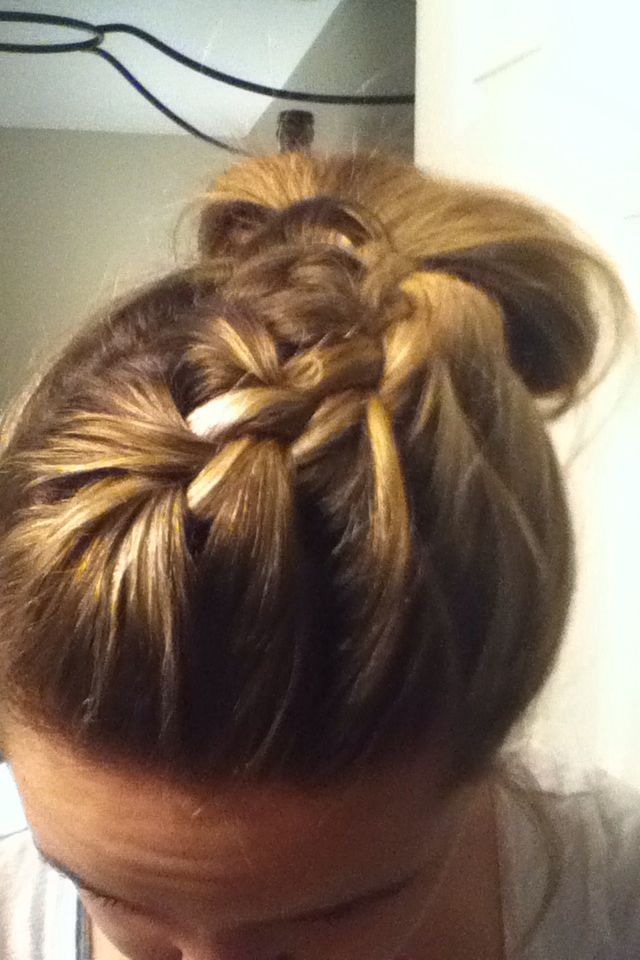 Me trying to attempt this lazy day hair style!