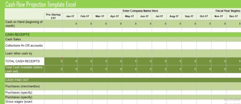 Cash Flow Projection Template Excel Financial Management Templates