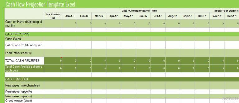 cash flow projection template excel financial management templates