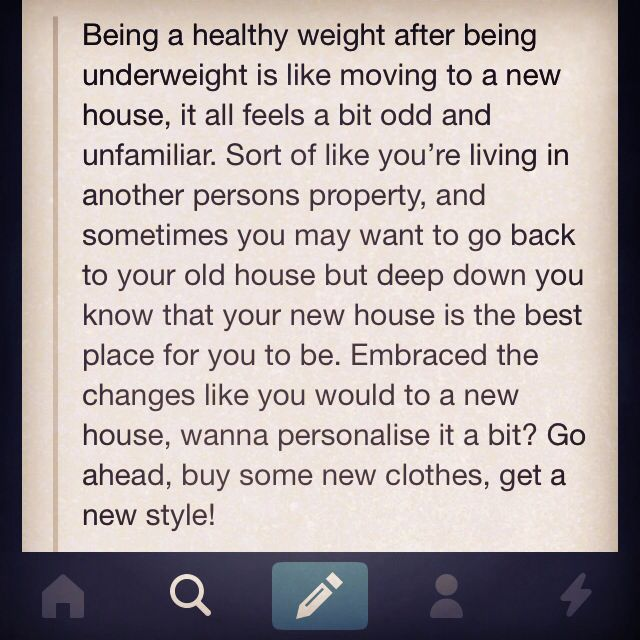 #recovery #anorexia | While I never reached the BMI criteria, I was under what appears to be my ideal weight (the one my body clings to the most), and can relate to this. Even now, my body feels foreign. As though it doesn't belong to me. It takes some getting used to, but it's important to remember the feelings are normal, and your body only wants to survive and maintain a healthy weight.