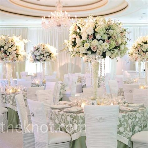 Strands Of Crystals Added Bling To Hydrangeas Roses And Other Cream Pink Green Flowers Votives At The Base Upped Romance Tables Love Those
