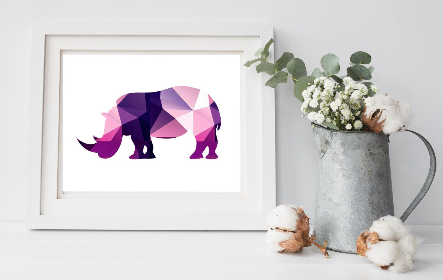 Geometric Purple Rhinoceros Art Print, Wall Decor, Instant Download ...